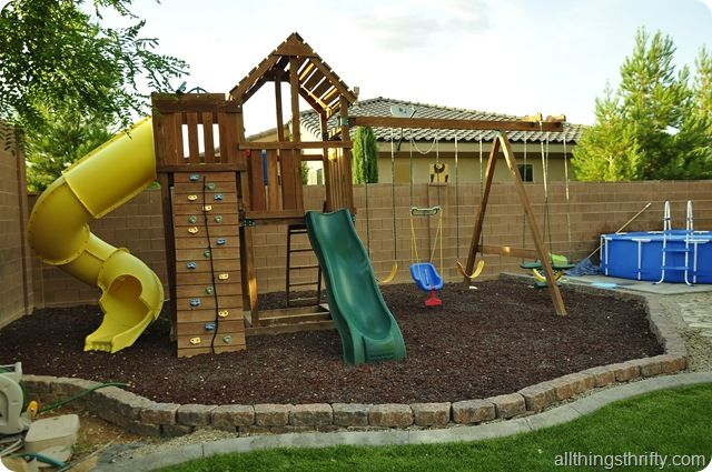 Mulch Backyard Playground :  love the idea of turning a house into a home? backyard included